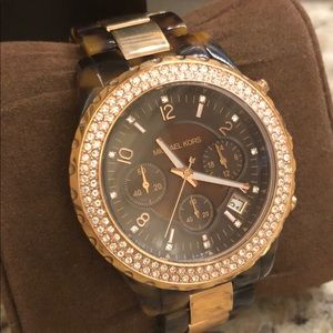 Michael Kors Tortoise and Gold Crystle Watch